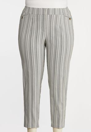 Plus Size Button Pocket Stripe Pants