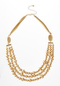Worn Gold Triple Strand Cord Necklace