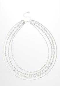 Layered Silver Bead Necklace