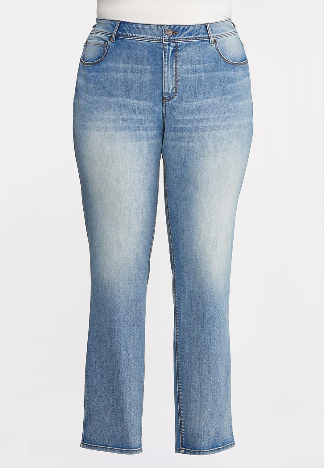 Plus Size Faded High-Rise Straight Leg Jeans