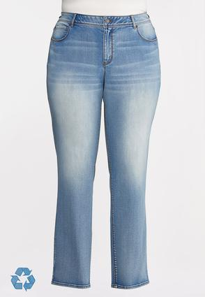 Plus Petite Faded High- Rise Straight Leg Jeans