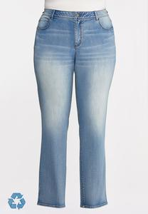 Plus Petite Faded High-Rise Straight Leg Jeans