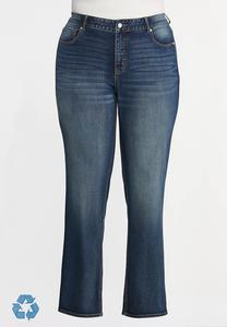 Plus Petite Straight High-Rise Jeans