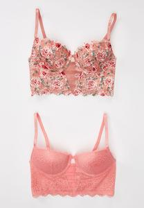 Pink Floral Lacey Bra Set