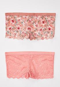 Plus Size Pink Floral Hipster Panty Set