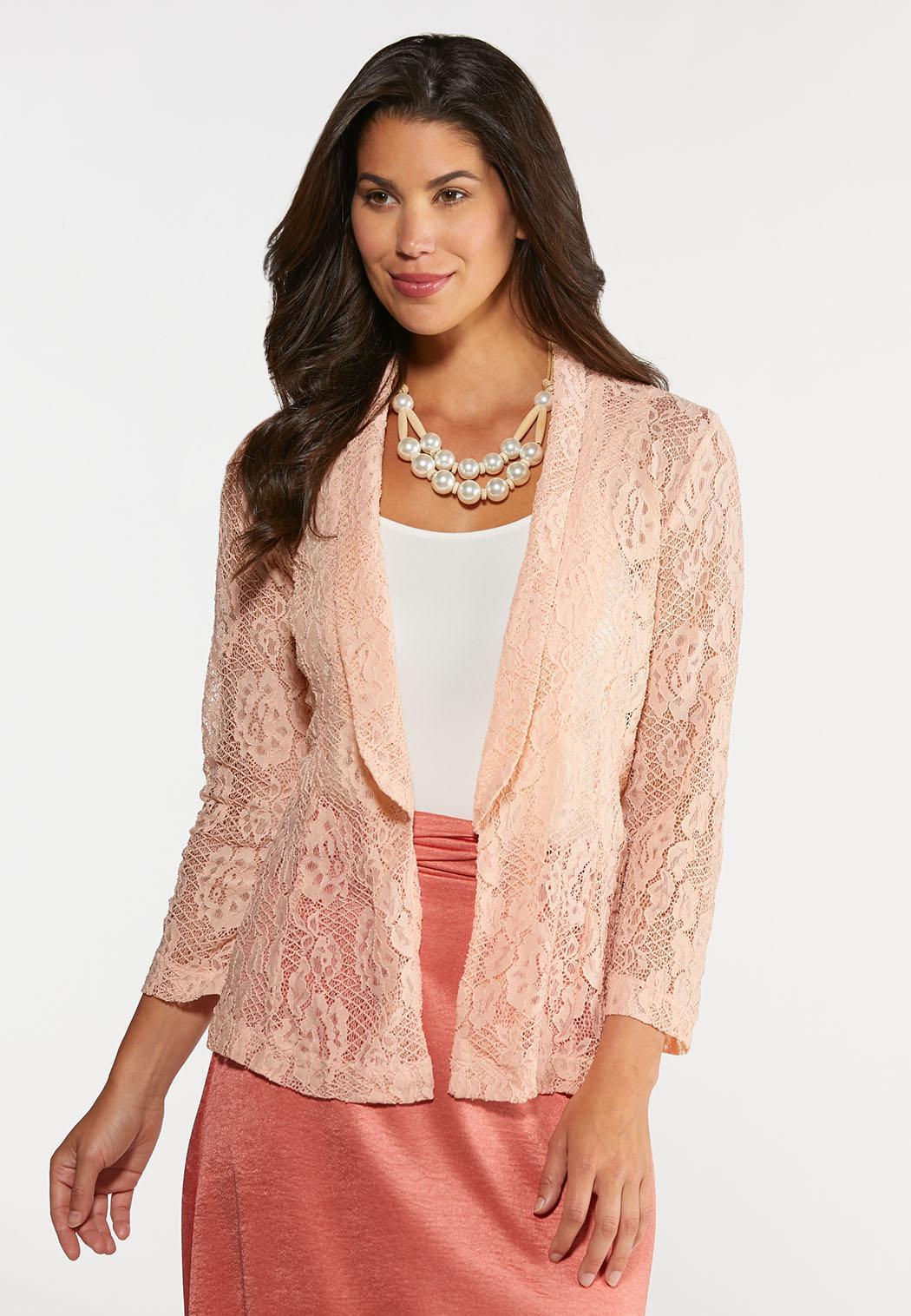 Plus Size Blush Lace Jacket