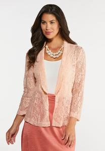 Plus Size Blush Lace Jacket