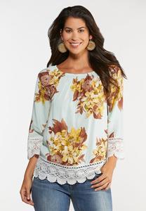 Floral Crochet Trim Top