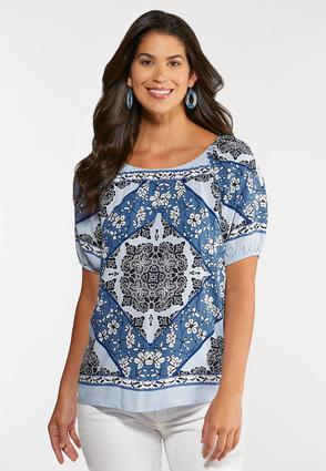 Plus Size Medallion Poet Top