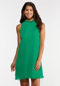 Plus Size Green Pleated Dress