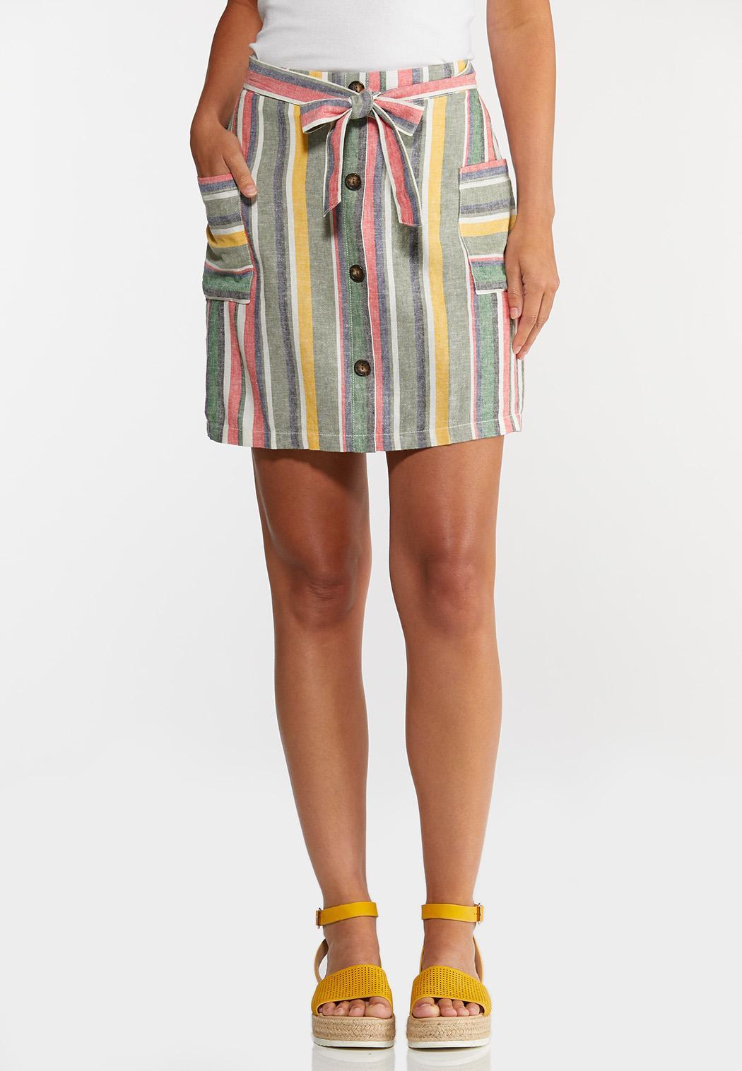Striped Side Pocket Skirt