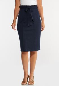 Plus Size Paperbag Tie Waist Skirt