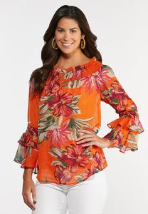 Plus Size Citrus Floral Poet Top