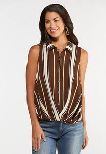 Brown Stripe Collared Top
