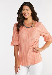 Pleated Square Neck Top