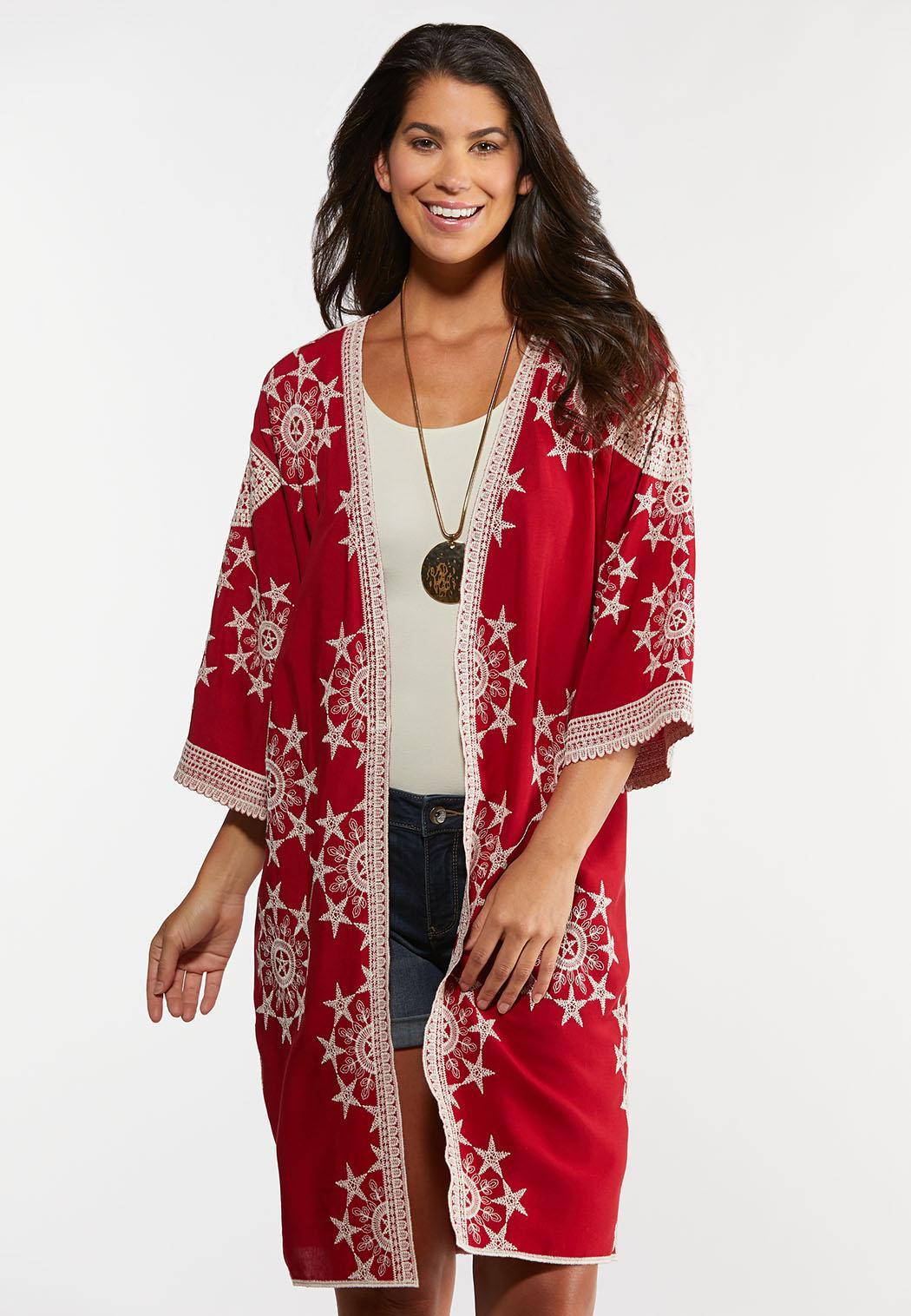 Plus Size Crochet Star Kimono