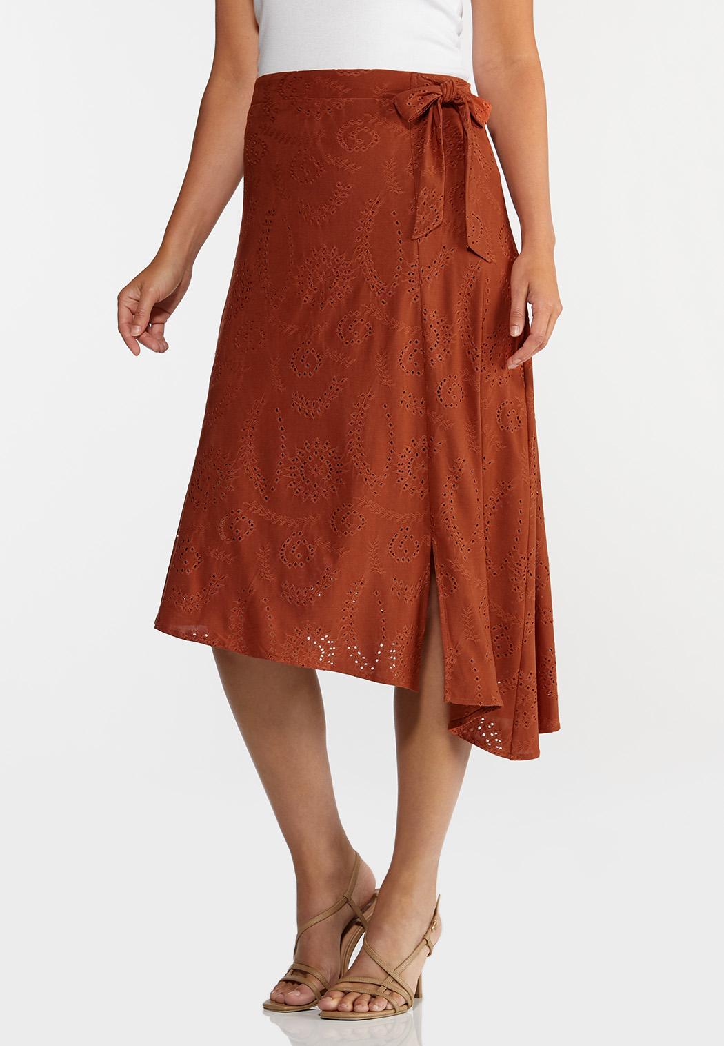Plus Size Rust Eyelet Midi Skirt