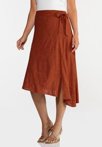 Plus Size Rust Eyelet Midi Skirt