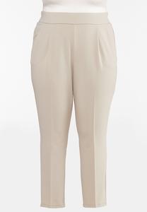 Plus Size Dressy Knit Slim Leg Pants