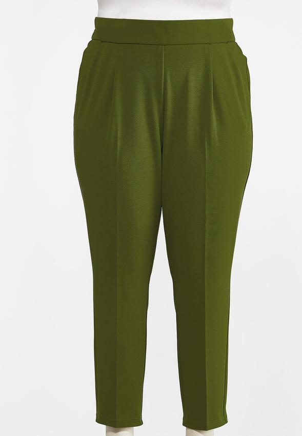 Plus Size Button Tab Slim Pants