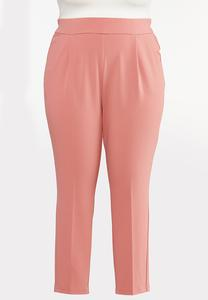 Plus Size Dressy Knit Slim Leg Pants