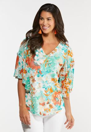 Tropical Floral Mesh Top