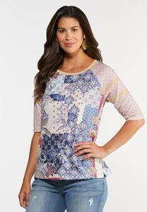 Plus Size Patchwork Baseball Top