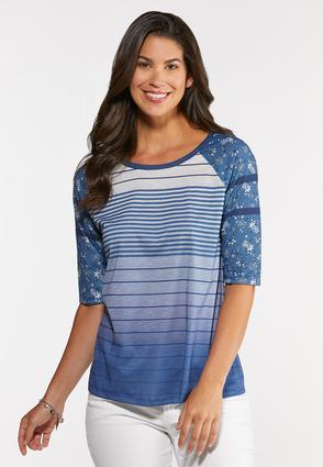 Plus Size Blue Baseball Tee