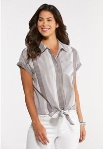 Plus Size Stripe Tie Hem Top