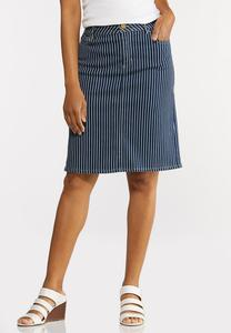 Plus Size Striped Denim Skirt