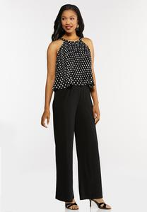 Plus Size Pleated Polka Dotted Jumpsuit
