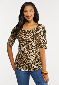 Plus Size Leopard Elbow Sleeve Top