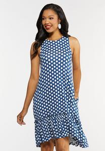Polka Dot Ruffled Hem Dress