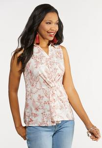 Plus Size Twisted Button Front Top
