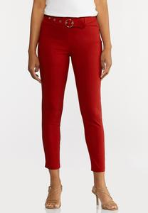 Belted Bengaline Ankle Pants