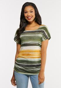 Plus Size A Twist Of Lime Striped Top