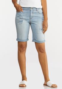 Floral Patchwork Denim Shorts