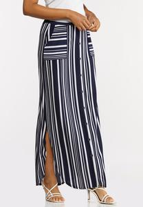 Plus Size Mixed Stripe Maxi Skirt