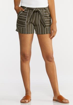 Olive Stripe Linen Shorts