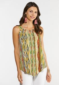 Plus Size Tribal Embellished Tank