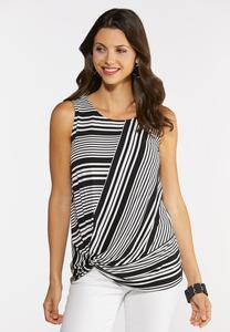 Plus Size Twisted Mixed Stripe Tank