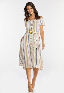 Plus Size Linen Stripe Midi Dress