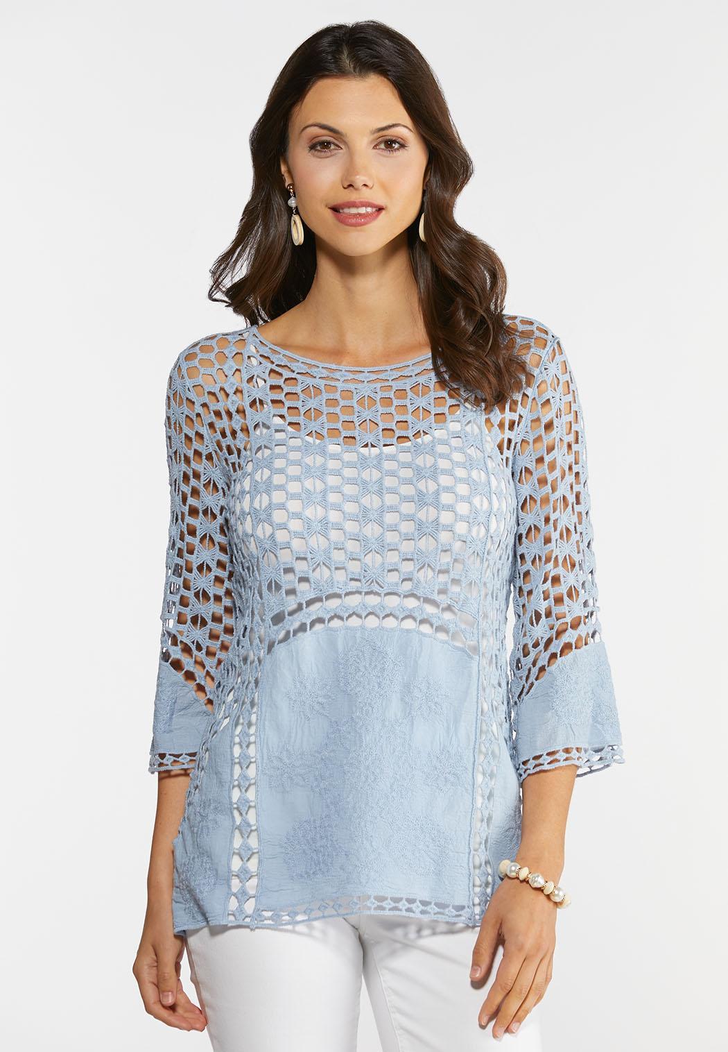 Crochet Slate Blue Top