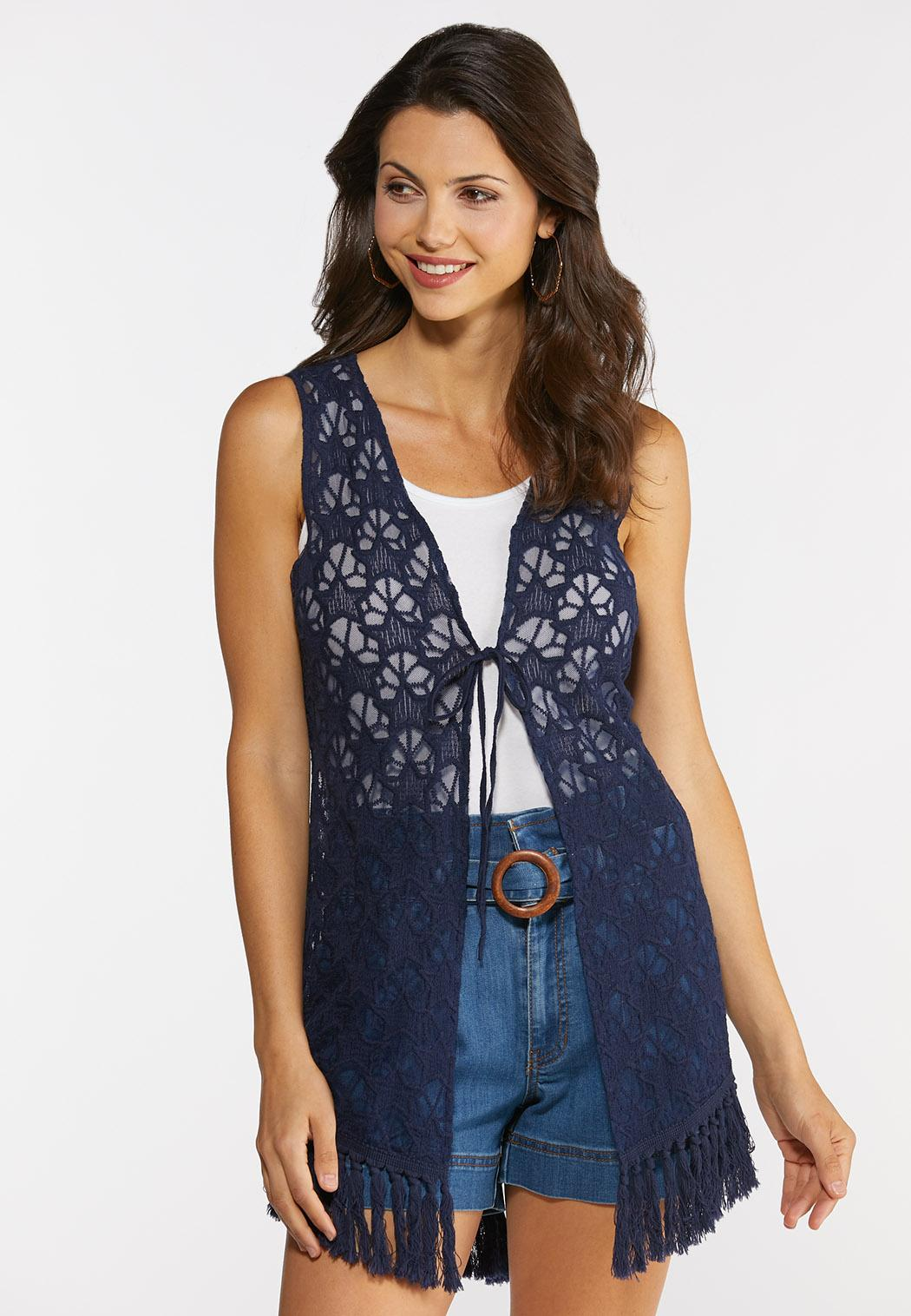 Frayed Star Crochet Vest
