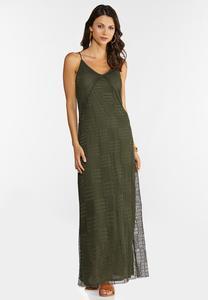 Plus Size Stretch Crochet Maxi Dress