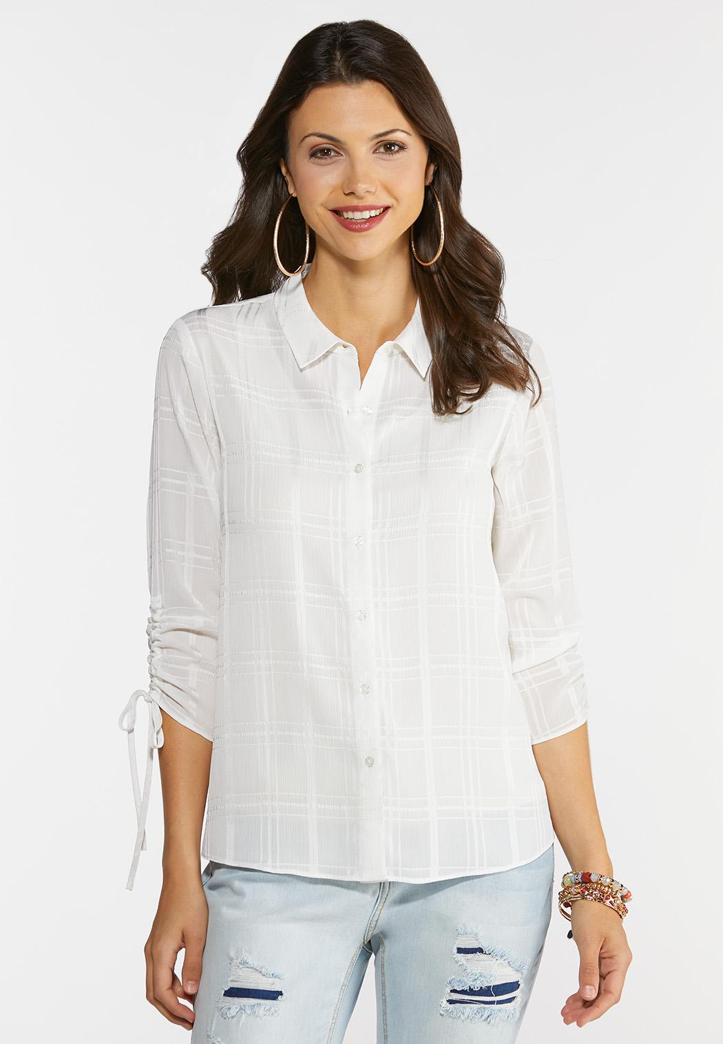 Textured Ruched Sleeve Top