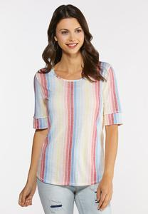 Plus Size Muted Rainbow Stripe Top