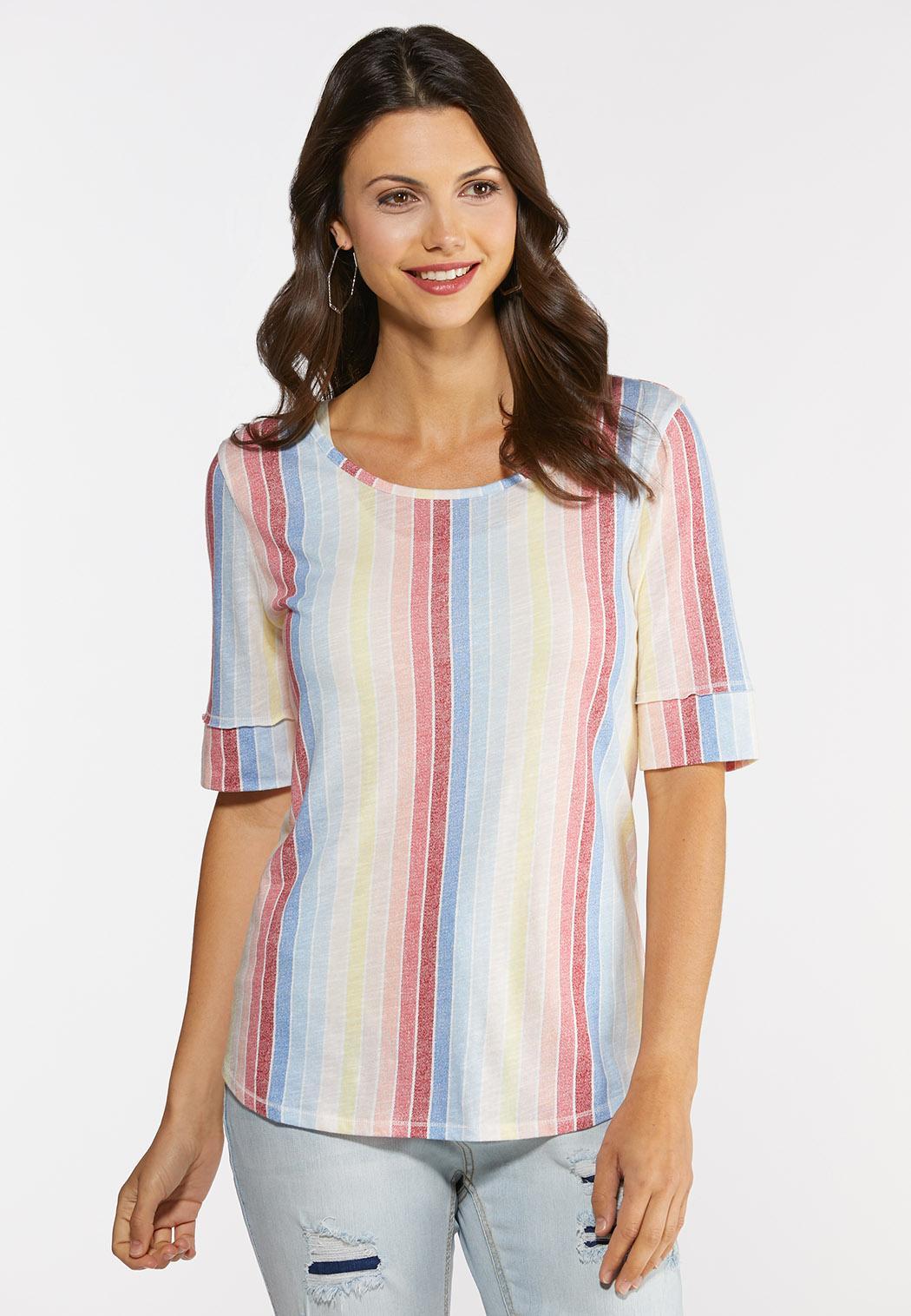 Muted Rainbow Stripe Top
