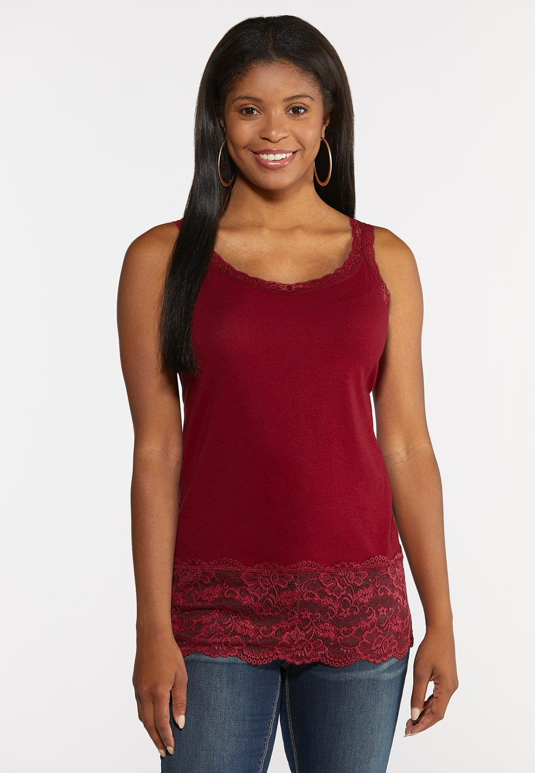 Solid Lace Trim Tank