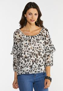 Plus Size Ruffled Leopard Top